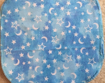 Night Sky resuable cloth baby wipe with stars and moons