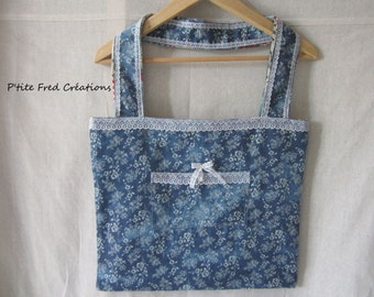 Fabric shopping bag reversible Creamery and jean flower motifs