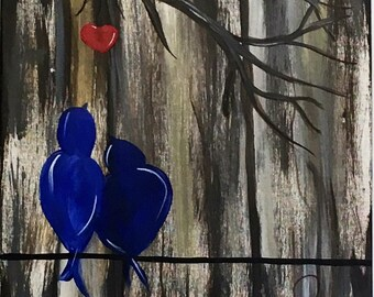 Canvas 10, Love Birds in Blue