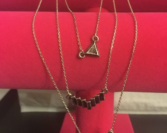 Geometric triple necklace