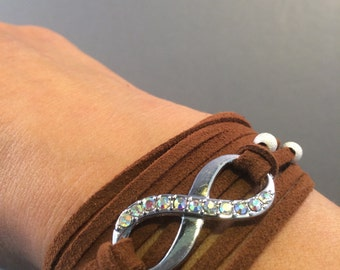 Infinity Brown Leather Suede Bracelet Wrap with Pearl/Rhinestones on each Side