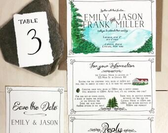 Mountain wedding invitation set, rustic watercolor- digital file