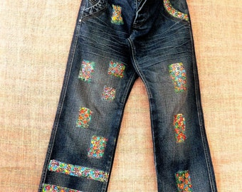 Hand-painted, recycling boho jeans