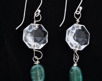 Emerald and Crystal Earrings