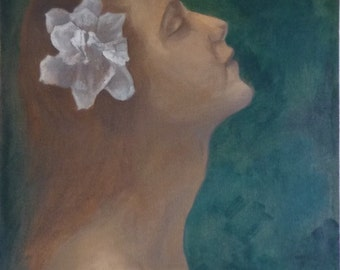 Dreaming woman oil on linen, painting, oil, figurative, sleeping, flowers