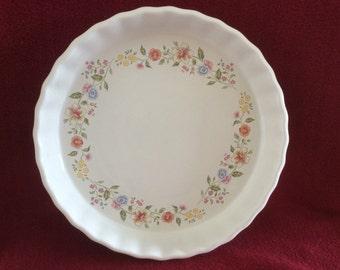 "Ashley Ceramics Flower pattern Flan Dish 9"""