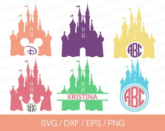 Disney Castle Svg, Disney Svg, Disney Monogram Svg, Princess Castle Svg, Eps, Dxf, Png use with Cricut & Silhouette
