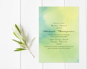 Green & Yellow Watercolor Bridal Shower Invitation