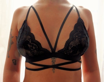 Black lace crossed rib cage triangle bralette