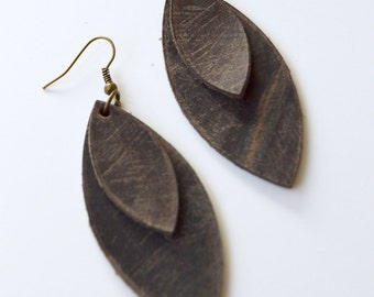 Genuine Leather Dangle Earrings: Rustic Brown Leather Feather Earrings