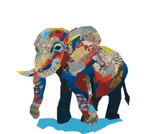 Limited Edition Print from an original collage of an Elephant
