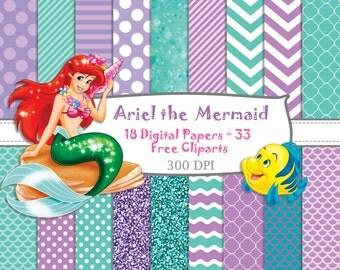 18 DIGITAL PAPERS + 33 FREE cliparts Princess Ariel the mermaid, birthday