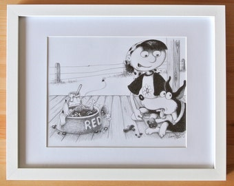 Framed original illustration - Red's delight