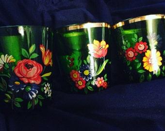 Hand painted vintage drinking glasses (set of three)