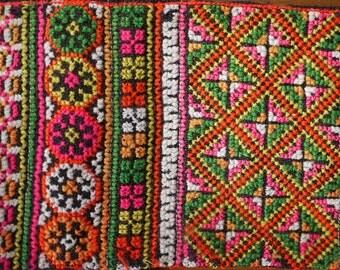 Antique vintage Hmong textile - asian tribal textile - cross stitch handmade