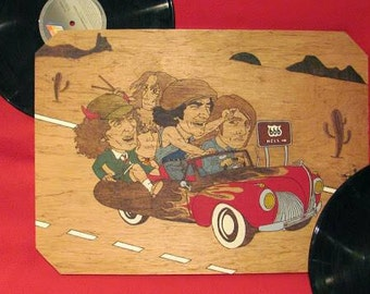 Box wood pyrography and painted AC/DC