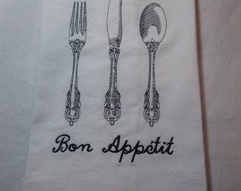 Embroidered  Bon Appétit flour sack towel
