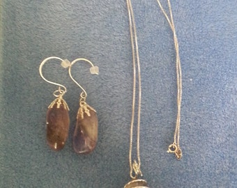 Amethyst Wire Wrapped Pendant and Earring Set