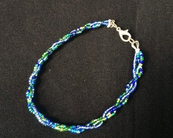 Braided Blue Green Beaded Bracelet