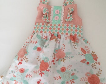 Peach and mint knot dress