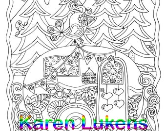 5 pages, Happyville Coloring Pack #10 , 5 Adult Coloring Book Pages, Printable Instant Download
