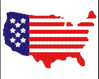 Fill Embroidery Design Map 4th Of July Usa File Digital