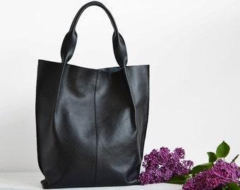 Leather Handbag, Shopperbag - 100% Leather Bag, Genuine Leather Bag, handmade in Poland, A4 size, COLOR: Black