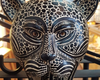 Jaguar Mask and Jaguar sculpture