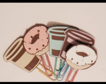 Planner clips. COFFEE AND DONUTS