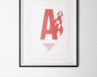 Baby Boy Personalised Downloadable Print, Rocket Art, Little Boy Nursery Print, Baby Boy Gift
