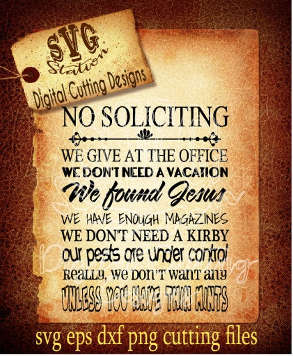 No Soliciting Svg Cutting File Instand Download Vector Graphic