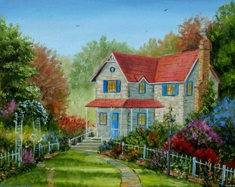 House and garden oil painting 12x16in Landscape autumn scenery, Flowers Canvas art For interior design Christmas gift