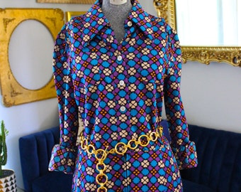 Vintage 70s Patterned Dress Suzy Perette by Victor Costa Purple Blue Orange