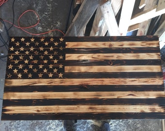 Torched American flag 37x19.5