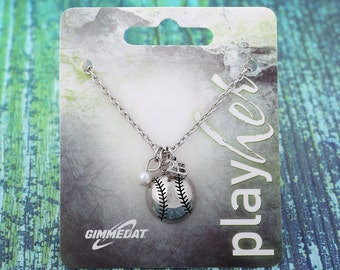 Customizable Softball Second Base Necklace - Personalize with Softball Jersey Number, Heart Charm, or Letter Charm! Great Softball Gift!
