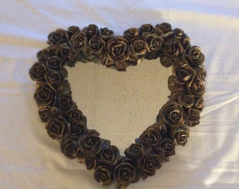 Vintage Heart Mirror with Hand Painted Gold Roses