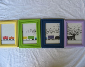 Freight Train Framed Nursery Art Set of 4