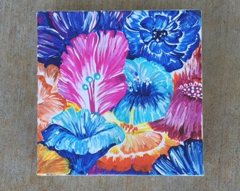 Hand Painted Flowers On Canvas