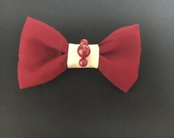 Burgundy/cream Clip On Bow Tie