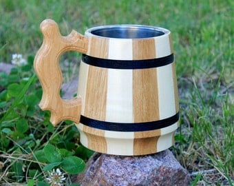 Large Wooden Beer Mug with Metal Eco Friendly