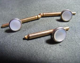 Antique Victorian Edwardian collar stud button lot set mop