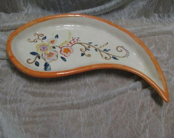 "Handmade and painted ""drop""platter"