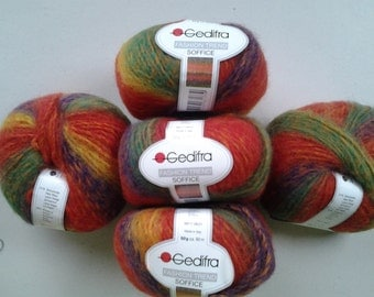"Gedifra fashion trend ""SOFFICE"", beautiful multi colored wool blend yarn"