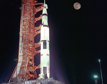 Apollo 17 Saturn V at Launch Pad 39A Under a Full Moon - 5X7, 8X10 or 11X14 NASA Photo (EP-165)