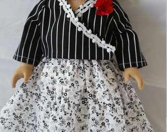 """18"""" doll, AG, american girl, doll clothes, skirt, wrap around top, red flower, beaded necklace, black and white, floral, stripes, girls"""
