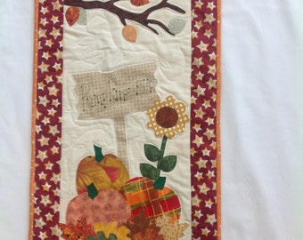 New quilted wall hanging pumpkins autumn harvest fall leaves pumpkins for sale acorns rod pocket cotton sale sign sun flower wall decor