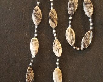 Zebra jasper Necklace and Bracelet