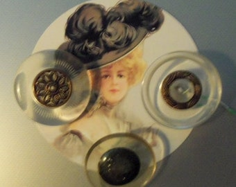 Lot of Three  Vintage Lucite Buttons