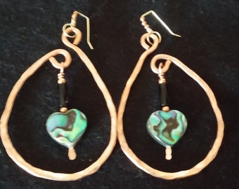 Copper hand hammered hoop earrings with heart shaped Abalone and 24k gold filled earwire