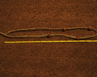 Hemp All Natural Handmade Necklace with Wooden Beads